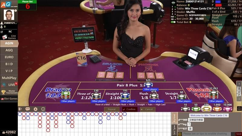 asia gaming win three cards