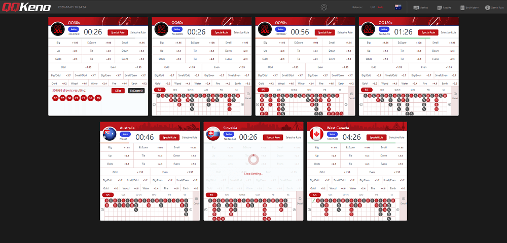QQKeno Lottery Gameplay Online